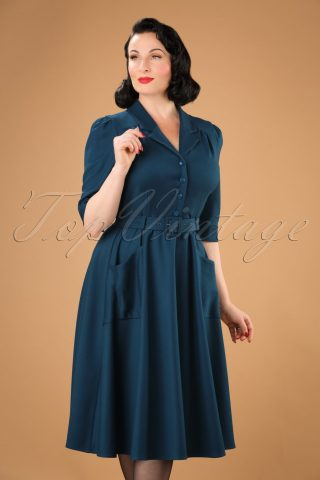 40s Alexandria Swing Dress in Petrol Blue