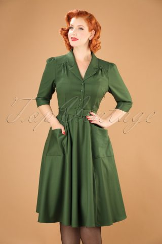 40s Alexandria Swing Dress in Green