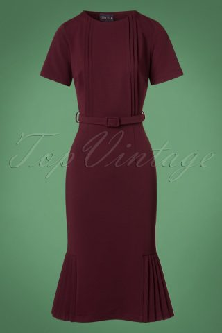 40s Camille Pencil Dress in Wine