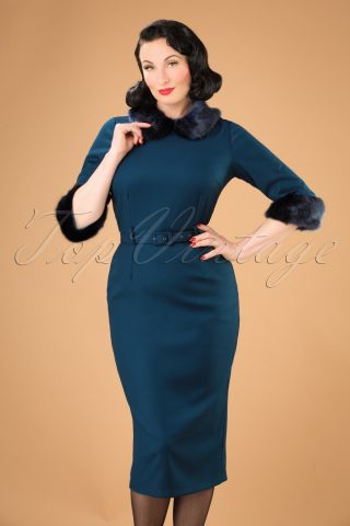40s Christiane Pencil Dress in Blue
