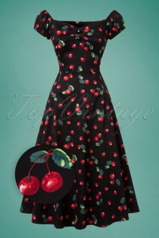 20a9011207e926 50s Dolores Cherry Doll Swing Dress in Black