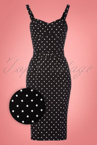 c76bb47a3fbeb5 TopVintage exclusive ~ 50s Maneater Polkadot Wiggle Dress in Black